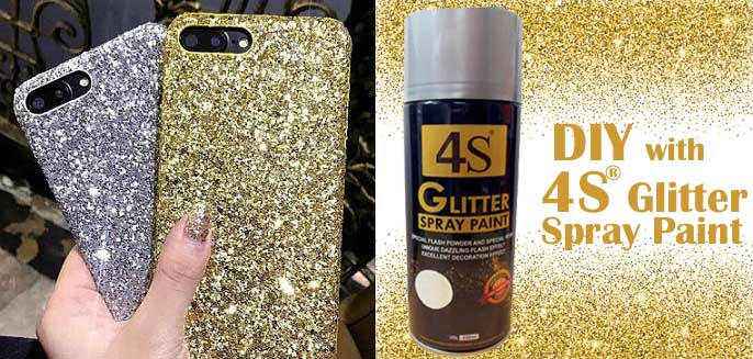 diy glitter phone case with glitter spray paint